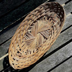 Vintage Wall Hanging Wicker Basket Boho Decor Oval